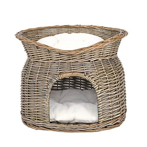 dibea Cesta de mimbre para gatos cesta para gatos cueva gatos 55x39x43 cm Gris