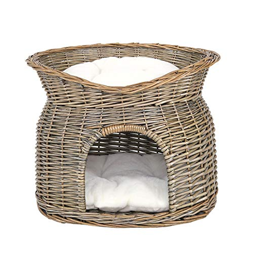dibea Cesto vimini per gatti grotta per gatti cesto gatti cuscino 55x39x43 cm Grigio
