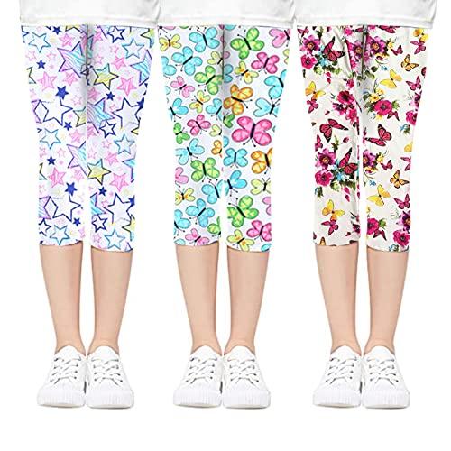 beifon 3Pcs Pantalones Leggings Niñas Cortos 3/4 Estampados Mallas Stretch para Niña Elásticos Leggins Pantalones Deportivas Largas Estampadas de Flores para Niñas (Estilo 1, 130, Numeric_130)