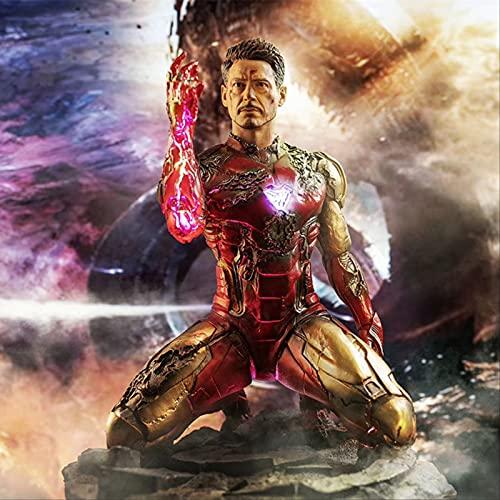 QWYU Avengers Endgame Final Battle Statue en résine Iron Man Super Hero Agenouillé Doigts