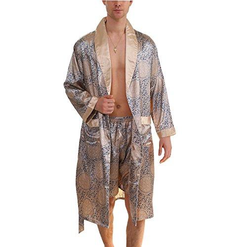 BridalAffair Men's Summer Luxurious Kimono Robe Soft Satin Bathrobe Long-Sleeve Nightgown Printed Pajamas Blue Gold, X-Large/XX-Large