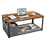 CubiCubi Industrial Coffee Table Tea Side Table with Storage Shelf for Living Room, Vintage Wooden Board with Stable Metal Frame, Easy Assembly, Rustic Brown