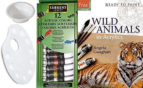 WILD ANIMALS IN ACRYLICS: Ready to Paint Acrylic Painting Set with book + 12 Vibrant Paints with color mixing Palette & water cup art supply kit
