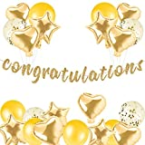 Congratulations Banner Set with Balloons Gold Letters & Gold Symbol-Hanging Paper Sign Decorations for Graduation,Retirement Party Decorations ,Achievement Party Celebrations, Happy Wedding, Bridal Shower