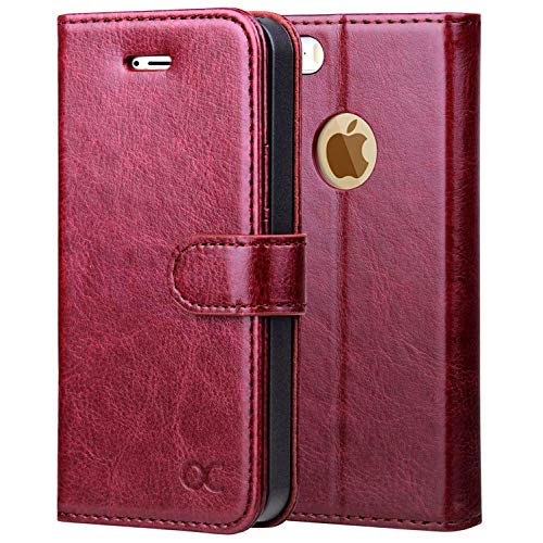 OCASE Wallet Case for iPhone SE 2016 Edition/iPhone 5S/ iPhone 5 [Card Slot] [Kickstand] Leather Wallet Flip Case for Old iPhone SE/ 5S/ 5 Devices - Burgundy