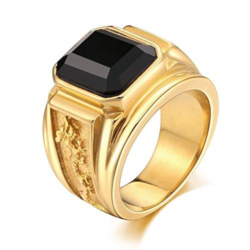 Adisaer Ring Gold Herren Ring Herren Zelda Gothic Punk Herren Ring Schwarz Schwarzer Rechteck-Zirkonia-Drache Ringgröße 67 (21.3) Valentinstag Ring Kostenlos Gravur