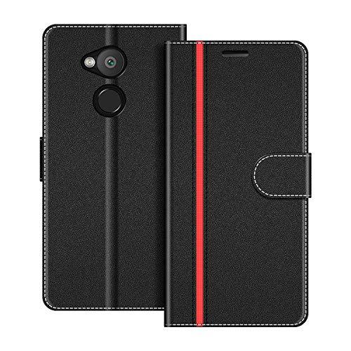 COODIO Handyhülle für Sony Xperia L2 Handy Hülle, Sony Xperia L2 Hülle Leder Handytasche für Sony Xperia L2 Klapphülle Tasche, Schwarz/Rot