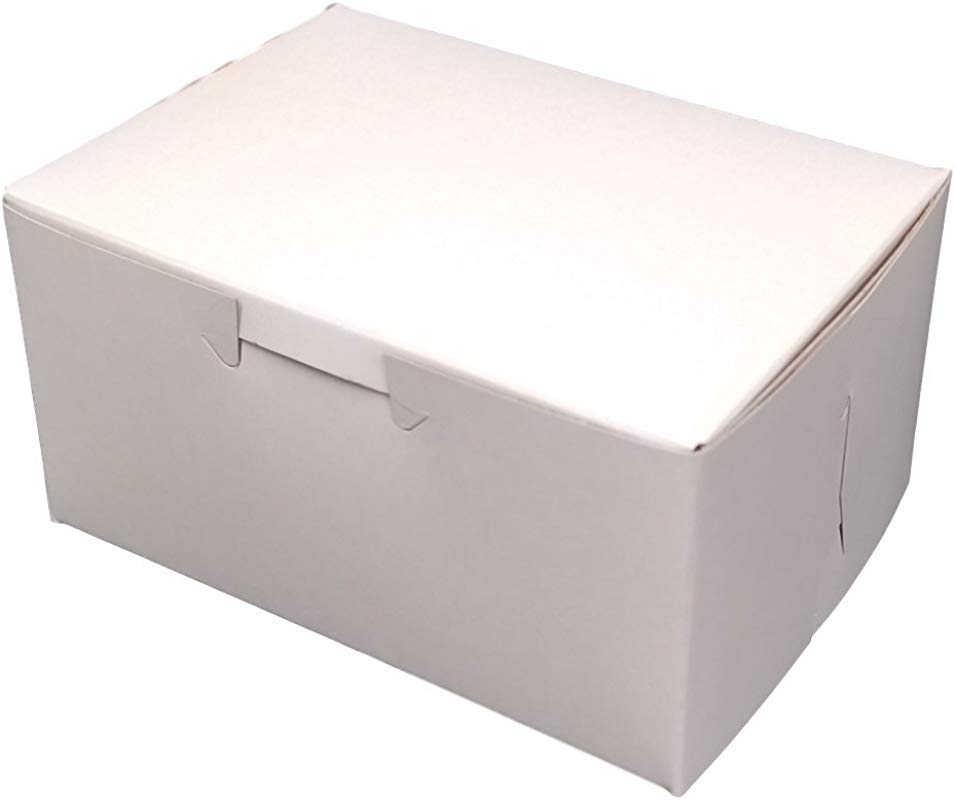 MT Products 5 5 X 4 X 3 Clay Coated Kraft Paperboard White Non Window Lock Corner Bakery Treat Box Pack Of 20
