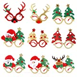 Gafas de Navidad, CestMall 9 piezas Novedad Marco de gafas con brillo navideño, Gafas de fiesta Suministros de decoración de disfraces Disfraces Disfraz Gafas Accesorios para niños adultos Juguetes de