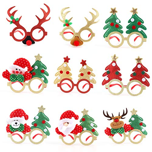 Christmas Eyeglasses, Jhua 9 Pcs Novelty Christmas Glitter Glasses Frame, Party Glasses Costume Decoration Supplies Fancy Dress Costume Eyeglasses Accessories for Adult Children Party Gift Toys