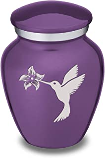 GetUrns Keepsake Mini Hummingbird Embrace Cremation Urn for Sharing (Purple)
