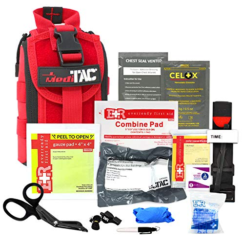 MediTac IFAK Molle - Eagle Type Tactical Trauma Kit with Tourniquet, Celox Hemostatic Granules and Pressure Bandage, Bleeding Control Kit - Red