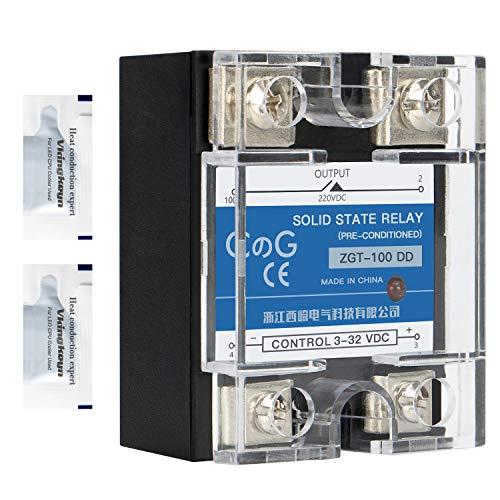CG relé de estado sólido SSR-100DD DC a DC entrada 3-32VDC para salida 5-240VDC 100A cubierta plástica monofásica