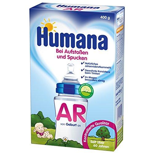 Humana AR Spezialnahrung, Anti-Reflux bei Aufstoßen & Spucken, Säuglingsnahrung, mit natürlichem Johannisbrotkernmehl, von Geburt an, 400 g