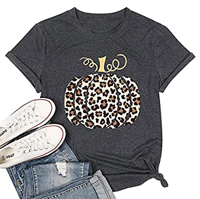 Halloween Pumpkin Shirt for Women Funny Hello Fall Letter Printed T Shirt Cute Pumpkin Graphic Tees Shirt (Dark Gray, XXL)