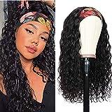 Headband Wigs Human Hair Water Wave Headband Wigs Wet and Wavy Brazilian Virgin Hair Water Wave Wig for Black Women Glueless Wigs150% Density(14 Inch)
