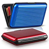2 Pieces Credit Card Holder Slim Mini RFID Blocking Credit Card Protector Aluminum Business Card Case Metal ID Organizer Wallet with 7 Slots for Women Men (Red, Blue)