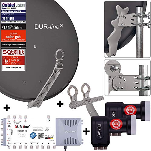 DUR-line 8 TN/2 Satelliten Set - Qualitäts-Alu-Satelliten-Komplettanlage - Select 75cm/80cm Spiegel/Schüssel Anthrazit + Multischalter + 2xLNB - für 8 Receiver/TV [Neuste Technik, DVB-S2, 4K, 3D]