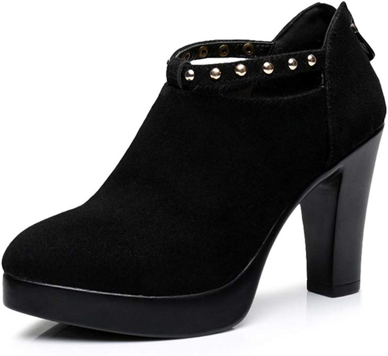 Women's Fashion shoes Spring Autumn Pointed Matte Suede Platform High Heels England Breathable Rivets shoes (color   Black, Size   35)