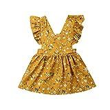 MERSARIPHY Toddler Tutu Dress Infant Sleeveless Vest Skirt Baby Backless Cute Romper for Girl Ruffle Skirt, Ages for 6Mos-5T (Yellow, 1-2 T)