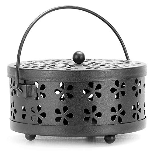 Mosquito Coil Holder | Metal Incense Burner | Portable Bug & Insect Repellent | Home & Garden Fragrance & Aromatherapy | Includes Lid and Handle | M&W (Black)