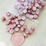 100pcs Sellado de perlas de cera, sello de cera Vintage sello de sello de la tableta pastillas de la píldora para el sobre de la boda sello de cera antigua lacre de sellado de color rosa claro