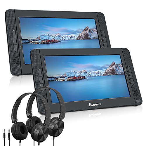 """NAVISKAUTO 10.1"""" Dual Screen DVD Player Portable for Car with 5-Hour Built-in Rechargeable Battery, Last Memory and Region Free (Host DVD Player+ Slave Monitor)"""