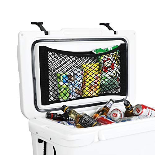 AIEVE Cooler Storage Bag, 2 Pack High Capacity Heavy Duty Cooler Organizer Adhesive Backed Elastic Nylon Mesh Storage Net Cooler Organizer for YETI Tundra 45 Coolers and RTIC 45 Cooler Accessories