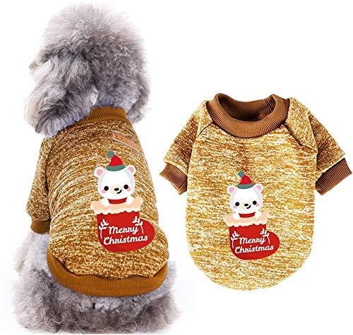 HAPPKING Hund Weihnachtspullover Schneemann Weihnachten Hund Urlaub Shirt für Welpen Weihnachten Haustier Kleidung für kleinen Hund und Katze (Farbe : Khaki, Größe : XXL)