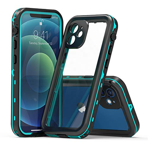 Funda para iPhone12 Mini/12/12 Pro/12 Pro MAX, IP68 Certificado Sumergible Carcasa, 360 Grados Protección [Antigolpes][Anti-rasguños] con Protector de Pantalla Incorporado.L-1,Blue,iPhone12