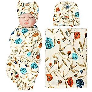BQUBO Newborn Floral Receiving Blankets Newborn Baby Swaddling with Headbands or Hats Sleepsack Toddler Warm 1/3 Pack