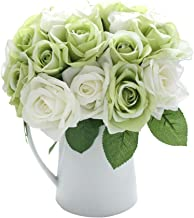 CQURE Artificial Flowers, Fake Flowers Silk Artificial Roses 9 Heads Bridal Wedding Bouquet for Home Garden Party Wedding Decoration (Green White)