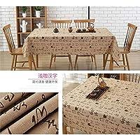 テーブルクロス 長方形のテーブルクロス綿リネンテーブルクロス印刷コーヒーテーブル (Color : Brown, Size : 90*90)