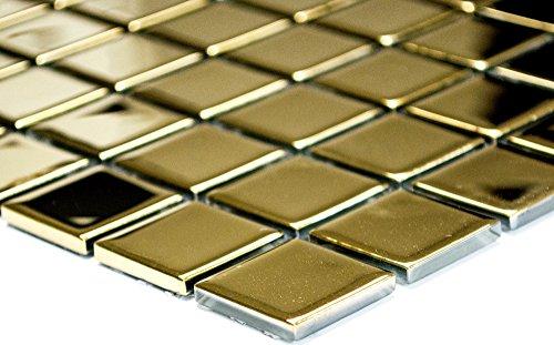 Mosaik-Netzwerk Mosaikfliese Quadrat Crystal uni gold Glasmosaik Transluzent Transparent 3D Fliesenspiegel, Mosaikstein Format: 25x25x4 mm, Bogengröße: 327x302 mm, 1 Bogen/Matte