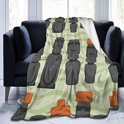 Manta gruesa súper suave y cómoda para todas las estaciones, estilo plano de dibujos animados Isla de Pascua Rapa Nui suave y acogedora cama gruesa unisex adultos Micro polar para sofá cama silla o