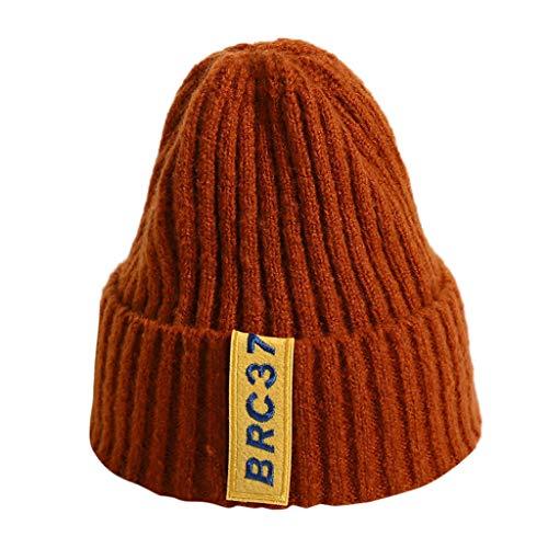 Ucoolcc Neugeborene Baby Winter Gestrickte warme Mütze Dicker Woll Hüte Neugeborene Herbst Winter 100% Super Weich Baumwolle Einfarbig Strickmützen(K,Eine Größe)