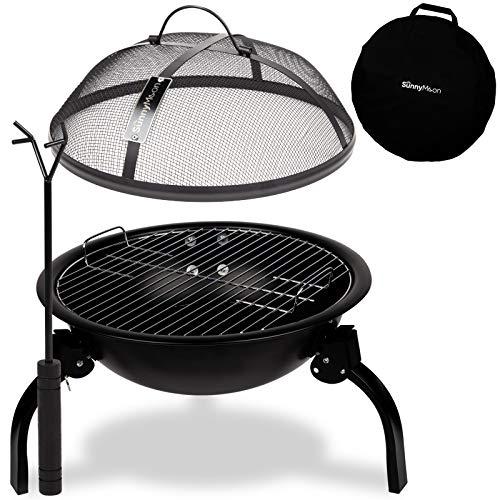 SunnyMoon® 2-in-1-Feuerschale 2020 - Feuerstelle/Grill für Camping, Garten, Outdoor, Terrasse - Robust, kompakt, zusammenklappbar, inkl. praktischer Tragetasche - 48 x 48 x 38 cm