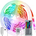 GIREALO LED Strip Lights 16.4ft, Color Changing Rope Light with 44 Keys IR Remote, 5050 RGB 150 LEDs Room Lights for Bedroom Lighting Kitchen Bar TV Dorm Decoration LED Lights Strip, Non-Waterproof