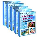 500 hojas de papel fotográfico 10x15 alto brillo 240g/m² Tarjetas fotográficas Secado instantáneo Impermeable Blanco