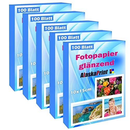 Alaskaprint Carta Fotografica (500 fogli)(10 * 15 cm) (240 g/m²) Asciugare immediatamente impermeabile bianco brillante foglie foto