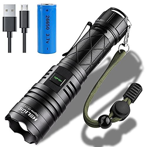 Torcia a LED, estremamente luminosa, 5000 lumen, CREE XHP70, 5 modalità, zoomabile, USB, ricaricabile, impermeabile, IPX67, per campeggio, escursionismo, militare, caccia, attrezzatura per esterni