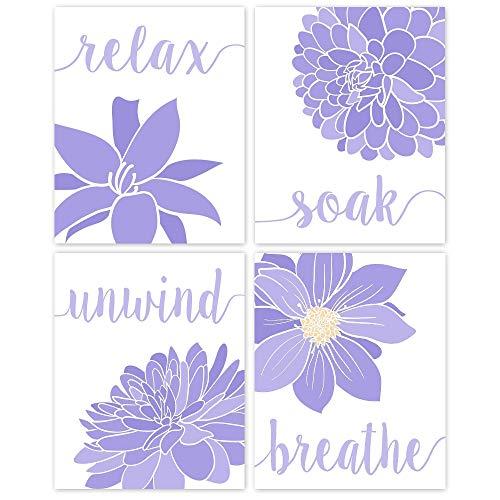 Relax, Soak, Unwind, Breathe Purple & White Bath Flower Poster Prints, Set of 4 (8x10) Unframed Photos, Wall Art Decor Gifts Under 20 for College, Home, Studio, Student, Bathroom, Floral Fan
