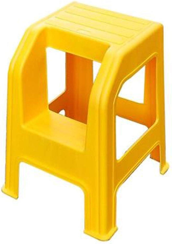 YJLGRYF Tabouret échelle Tabouret en plastique moulé en 2 étapes avec marchepied antidérapante, capacité de 300 livres Escabeaux (Couleur   jaune)