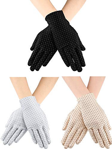 3 Pairs Women's Sun-protective Gloves UV Protection Sunblock Gloves for Hot Weather Outdoor Activities Supplies