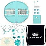 Knitter's Pride Knitting Needles Mindful Interchangeable Lace Set Warmth, Extra Pointy Stainless Steel, Smooth Finish, All Skill Levels, 13 Pairs of 4 inch Tips Bundled with Artsiga Crafts Project Bag