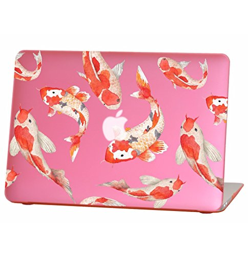 Rubberized Hard Case for 13 inch MacBook Air Model Number A1369 and A1466, Watercolor koi Fish Design with The Pink Bottom case, Come with Keyboard Cover