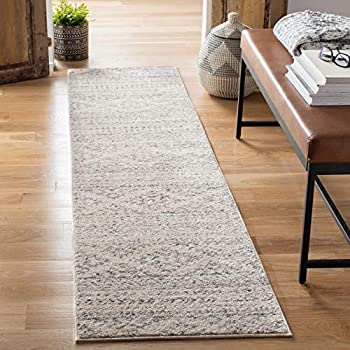 Safavieh Tulum Collection TUL272A Moroccan Boho Tribal Non-Shedding Stain Resistant Living Room Bedroom Area Rug 2  x 5  Ivory / Grey
