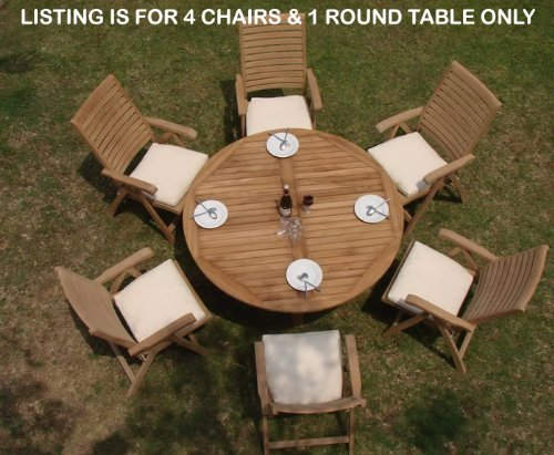 """Hot Sale New 5 Pc Luxurious Grade-A Teak Dining Set - 60"""" Round Table And 4 Ashley Reclining Arm Chairs"""