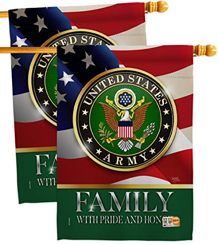 Breeze Decorus Army Family Honor House Flag 2 Pcs Pack Armed Forces Rangers United State American Military Veteran Retire Official Decoration Banner Small Garden Yard Gift Double Sided Made In Usa
