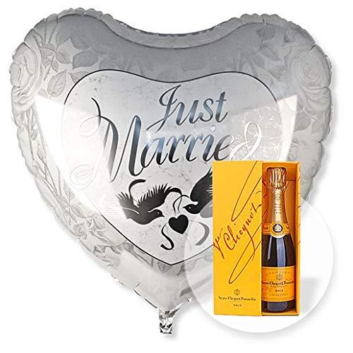Helium Riesenballon Just Married und Champagner Veuve Clicquot
